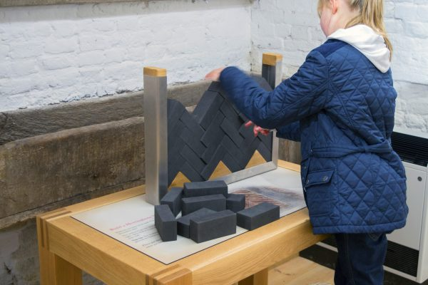 Old Basing House, hands-on interactive exhibit, herringbone brick laying