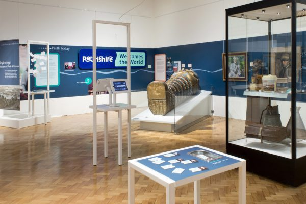 Beginnings: The Story of Perth and Kinross exhibition, wallpaper graphics and hands-on activities